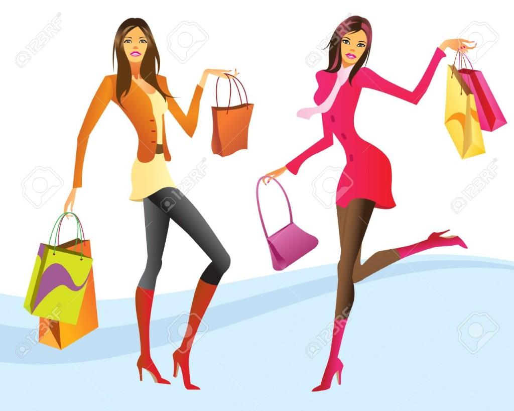 12480476-Shopping-girls-in-action-illustration-Stock-Vector-cartoon-shopping-girl