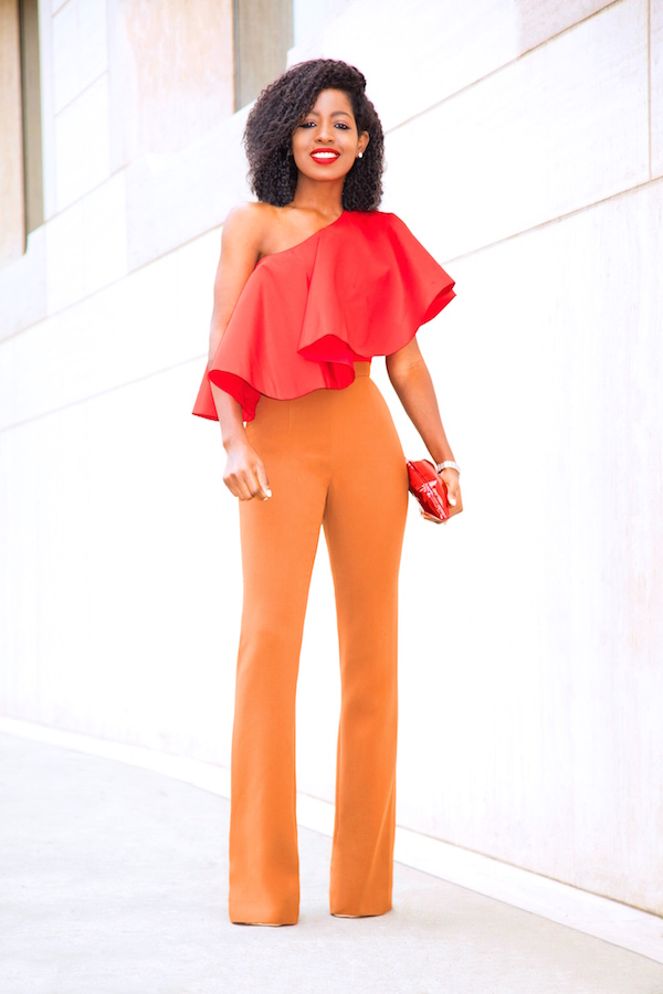 peek of the day-One Shoulder Top x High Waist Pants by Style Pantry