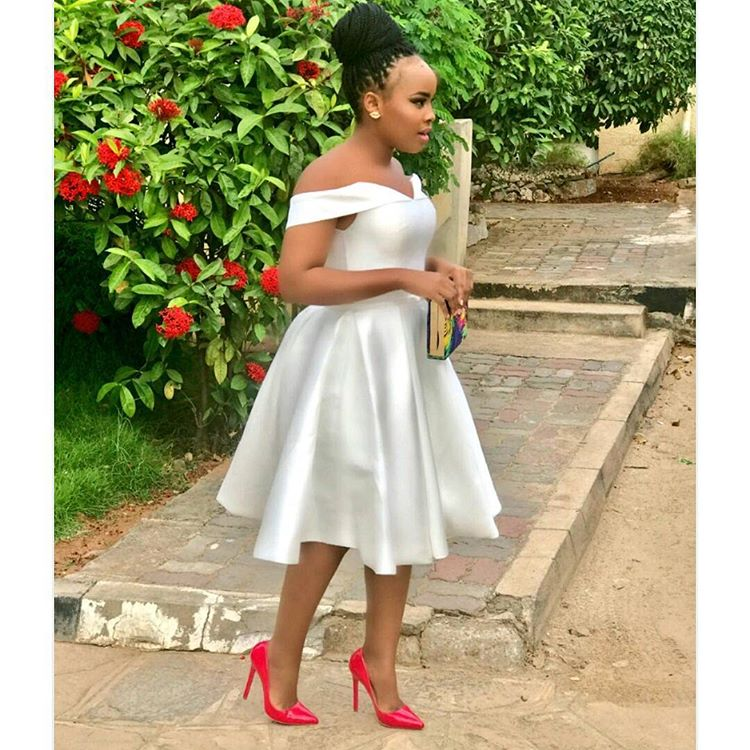 Weekend Highlights -Elizabeth Michael Rocking Pokello Pink Bottom Pumps With White Dress