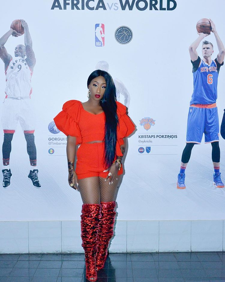 #AfroApproved – Victoria Kimani NBA Africa Game Orange Outfit