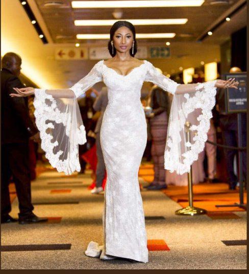 Enhle Mbali Wore Her Wedding Dress To Dstv Mzansi Viewers Choice Awards