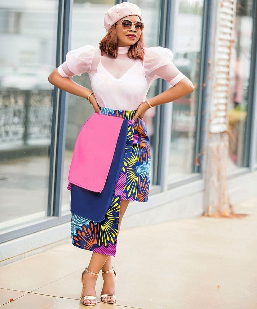 The Color-Block Ankara Skirt By Sgtc Clothing