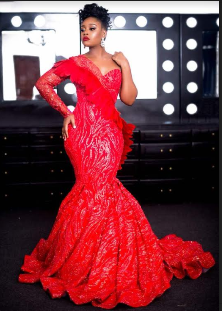 Jokate Mwegelo Looks Stunning In Red Gown By Mac Couture
