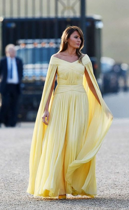Melenia Trump Shined In Yellow Dress For Dinner In England