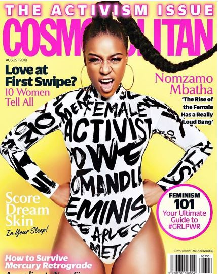 Namzamo Mbatha Looking Feminine Talking About Feminism In CosmopolitanSA Magazine