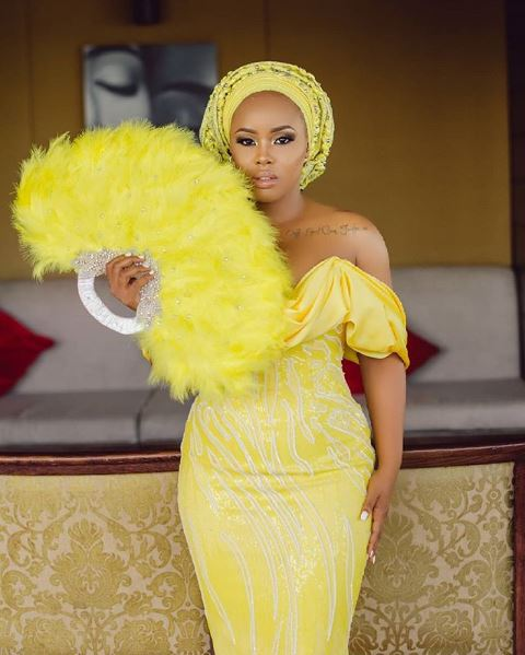 Elizabeth Michael Said Yes In Yellow Column Dress With Dramatic Puff Detail