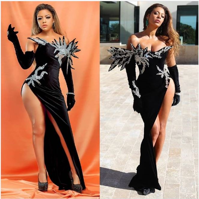 Fahyma & Mahumes Recreated Beyonce & Kujta & Meri Black Embellished Dress