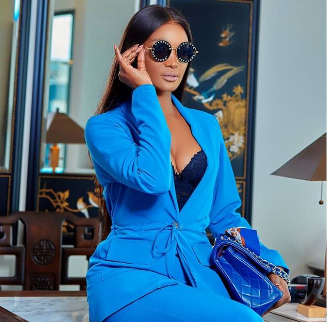 Happiness Magese Bossing Up In Blue Suit