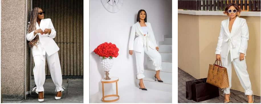 Lavido,Lilian Afegbai & Laura Ikeji In White Ankle Tapered Suit