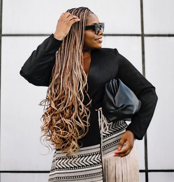 Box Braids with Curly Ends Trend