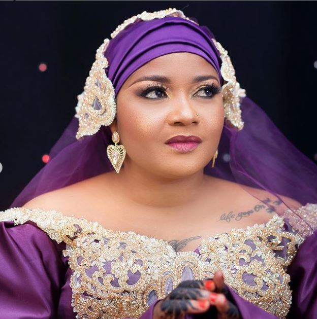 Shilole Wore Nandy Bridal Purple Gown For Her Wedding